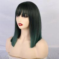 Verde qualityMedium escuro Ombre sintético Perucas com Franja por Mulheres Hetero Bob Perucas ondulado resistente ao calor Cosplay Wigs