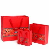 Borse di carta del regalo del regalo della carta rossa con le maniglie del confezionamento della borsa di imballaggio della borsa della borsa del fiore della borsa del fiore della borsa del vento cinese dei flower dei forniture del partito di nozze 1 29mj B2