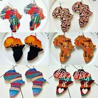 القبائل الخشب خريطة أفريقيا DIY ملون الرسم الأفرو أقراط جولة خشبية بوهو بوهيميا أفريقيا الأذن مجوهرات حزب الإكسسوار