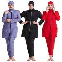 Copertura swimwear musulmano Hijab islamico Muslimah costume da bagno completa Zipper Burkini epoca Plus Size
