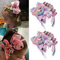 6Pcs / lot Jojo Siwa Haarband für Mädchen Unicorn Drucken Band beugt Stirnband Handgemachte Boutique Hoop Haarschmuck