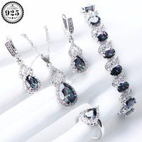 Natural Rainbow Jewelry Sets 925 Sterling Silver Stones Wedd...