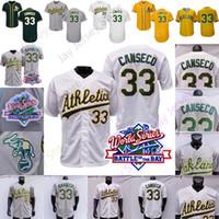 Jose Canseco Jersey 33 1989 홈 멀리 흰색 회색 녹색 노란색 버튼 풀오버 모든 스티치