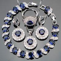 Blue Zircon d'argento nuziale 925 dei monili di Donne PendantNecklace orecchini anello con pietre naturali Bracciali Gioielli Gift Box Y200810