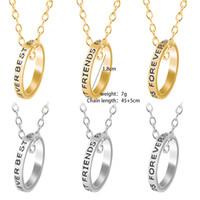 El mejor amigo de la novia del collar del estudiante femenino versión coreana de regalo de la escuela carta de suspensión clavícula sencillo collar anillo de la cadena