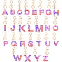 반짝이 펜던트 열쇠 고리 아크릴 키 체인 A와 Z 열쇠 고리 고급 열쇠 고리 매력 가방 스팽글 (26) 편지 키 홀더 액세서리 E92101