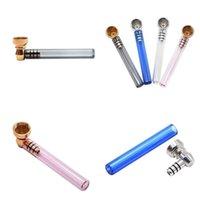 Cam Düz Temizle Borular Mini Metal Sigara Boru Çok Renkli Kalın Sigara Tüp Aksesuarları Çıkarılabilir Taşınabilir 4gl G2