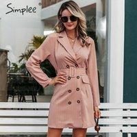 Повседневные платья Simplee Элегантная полоса для створки пояса Женщины Blazer Платье Осень Осень Офис Женская Двухбортская Женская короткая