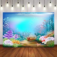 Fondo Material POGRAFÍA DE MATERIALES SERMÁTICO MERRAIDA Fiesta de cumpleaños de la sirena Baby Ducha brillante Pescado Decoración Pocall Backdrop PO Studio