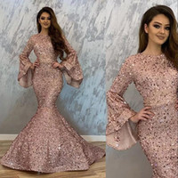 New Sexy Bling Rose Gold Sequins Evening Dresses Wear for Women Mermaid Poet Long Sleeves Sequined Lace Formal Prom Dress Party Gowns