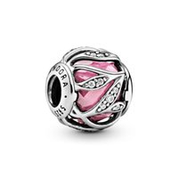 Authentic 925 Sterling Silver Pink Abstract Leaves Charm Fit...