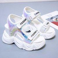 샌들 패션 여성 플랫폼 chunky 신발 디자이너 브랜드 여성 6cm 높이 증가 웨지 샌들 비치 화이트 캐주얼