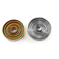 الملونة الفولاذ المقاوم للصدأ البسكويت قطع مجموعة 12PCS / مجموعة جولة الشكل قطع قوالب موس كعكة البسكويت الكعك القاطع YYA366 20PCS