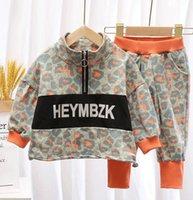 Miúdos Letra Leopard sets cair crianças zipper manga longa moletom + calças casuais 2 pcs meninos meninas roupas esportivas A3943