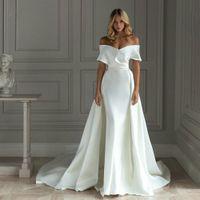 2021 barrido hombro sirena de satén vestidos de boda del tren desmontable Con Off tren vestido de novia Vestido de Noiva