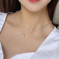Insclèvre de couloir de perles de mode pour femmes Filles Girl Gold Couleur Double couche Chaîne Imitation Pendentif Colliers Vintage Colliers Déclarations bijoux