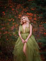 Трава зеленая Materinity Robe Вечерние платья Split Многоуровневое Puffy Long Фото беременной женщины платье Плюс Размер партии платье