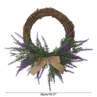 Artificial Flowers Lavender Bow Wreath Spring Wreath Outdoor for Front Door 67JB
