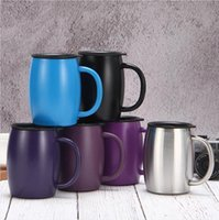 15oz 420ml Coffee Mug Stainless Steel Insulated Vacuum Flasks Thermos Double Layers Belly Cup Tumbler With Handle Lid Water bottle LJJP418