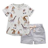 BINIDUCKLING Sommer-Baby-Kinderkleidung Sets Karikatur-Giraffe T-Shirt + Shorts Cotton Outifts Kleinkind-Junge-Kleidung stellt 2T-7T