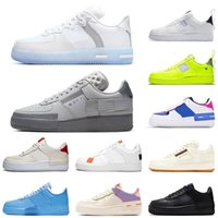 off white shoes af1 air force one shadow Top del 2020 sombra hueso plano de los zapatos ocasionales Triple Negro Blanco Hombres Mujeres MCA Formadores monopatín de 36-45