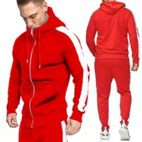Mens Tracksuits Pure Color Zipper Hooded Running Sport Wear ...