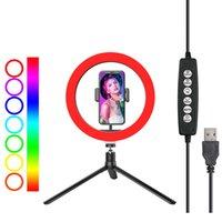 십인치 셀카 링 라이트 RGB 램프 사진 밤 플래시와 미니는 휴대 전화 스튜디오 YouTube 동영상 라이브를 위해 삼각대 스탠드 19cm