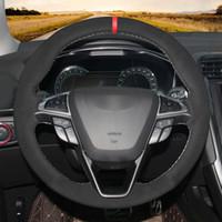 DIY Schwarz Synthetik Wildleder Handgenähtes Auto Lenkradbezug für Ford Mondeo Fusion 2013-2019 EDGE 2015-2019