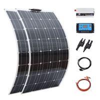 لوحة للطاقة الشمسية خارج الشبكة 200W نظام الألواح الشمسية المرنة لشاحن بطارية 12 فولت خلية أحادي الخلايا 1000W نظام المنزل كيت