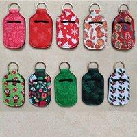 30мл Рождество дезинфицирующего средства для рук держатель бутылки Keychain сумка Кольцо для ключей мыло для рук Держатель бутылки неопрен Xmas подарки