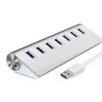 7 Port USB3.0 Hub Kablo Fiş Yüksek Hızlı Adaptör Alaşımlı Hub PC Sabit Disk Için USB Flash Sürücü Kart Okuyucu Cep Telefonu Kamera