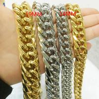 Zincirler erkek Ağır Kolye / Bilezik 14 / 19mm Gümüş Renk / Altın Renk Küba Curb Zincir Kalın Yüksek Kalite Takı 7-40 inç Uzunluğu
