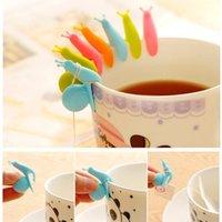 Sevimli Salyangoz Sincap Şekli Silikon Çay Poşeti Tutucu Kupa Mug Çay Poşeti Klip Şeker Renkler Hediye Seti İyi Çaylar Araçları Çay demlik 5 Renk DH2561 DBC