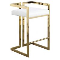 우아하고 현대적인 빈티지 디자인 골드 금속 벨벳 가구 팔걸이 크롬 식당에 대한 높은 바 의자 의자를 완료