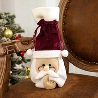 2020 Рождество бутылки вина Обложка Санта с очки Cute Velvet бутылки вина мешок Рождественская вечеринка украшения HHA1568