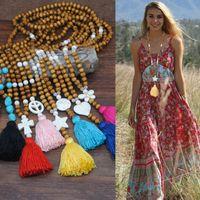 2020 Подвески моды Длинная цепь Деревянные бусины Boho ювелирные изделия женщин бабочки Сердце звезды Красочные кисточкой ожерелье