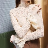Office Lady Half Turtleneck Long Sleeve Sheer Lace Blouse Tops Autumn Women Transparent Shirt Spring Womens Tops and Blouses