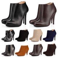 2020 New Red bottoms des femmes des butins Alors Kate de Spike High Heels 8 10 12CM cheville cuir noir marine velours hiver la mode bottillons