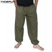 2020 Erkekler Harem Pantolon Elastik Bel Pamuk Gevşek Uzun Pantolon Erkekler Katı Geniş Bacaklar Baggy Vintage Koşucular Pantolon Erkek
