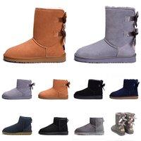 Новые кожаные ботинки женщин снега зимой популярных Девочка Черный Серый каштан КОФЕ Австралия лодыжку преклонить колени половина Длинные сапоги женские сапоги