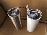 20 узкий тонкий тумблеры пустые сублимация тонкая чашка кофе кружки с крышкой и соломенной пивной кружки с морской доставкой CCA12436 100 шт.
