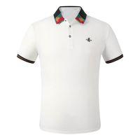 Lüks Moda Klasik erkek Nakış Gömlek Pamuk Erkek Tasarımcı T-Shirt Beyaz Siyah Gri Polo Gömlek Erkek M-3XL