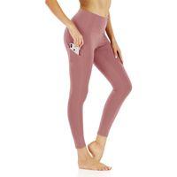 Mulheres Yoga Workout Pant bolso cintura alta LeggingsTummy de Controle em Execução Sólidos Pants Ginásio de Esportes Womens treino de corrida calças justas