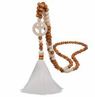 Artesanal de madeira do grânulo corrente camisola estilo étnico fêmea turquesa longo da linha branca borla e plana WY1580 pingente padrão