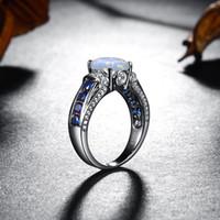 Top Jewerly 100% Genuine 925 anéis de prata esterlina Sapphire Diamond Classic Opal Crepúsculo Anel de Prata 925 Fine Jewelry For Women