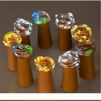 Cadena de luz 2m 20-LED de alambre de cobre con el tapón de la botella de la botella de cristal del arte de hadas de la lámpara de decoración de la boda de San Valentín