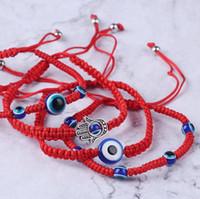 2021 6 Estilos Pulsera de tejido a mano Lucky Red String Hilo Pulseras Blue Evil Eye Charm Joyería Fatima Amistad