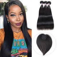ISHOW İnsan Saç Demetleri Kapatma Ile Düz Bakire Saç Uzantıları 3/4 adet Saç Topper Siyah Kadınlar için Dairesel Kapatma