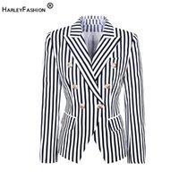 Frauenanzüge Blazer HarleyFashion Europa und Amerika Straße-Wear-Mode Gestreifte gedruckte obere Jacke Zwei Farbe Slim Blazer
