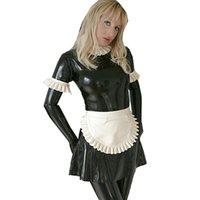 14 색 PVC 프랑스 하녀 코스프레 드레스 여성 짧은 러플 슬리브 목 습식 봐 화려한 드레스 할로윈 처녀 파티 하인 의상